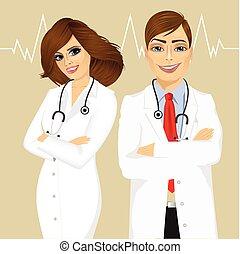 expérimenté, mâle, femme, médecins