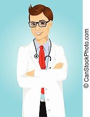 expérimenté, poser, docteur masculin