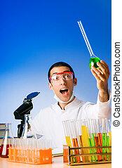 expérimenter, solutions, laboratoire, chimiste