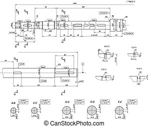 Expanded shaft sketch. Engineering drawing
