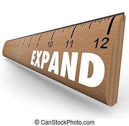 expandir, palavra, régua, crescer, expansão, para, novo, nível