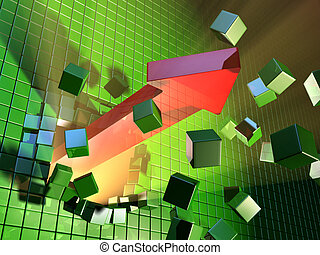 Expansion - A big red arrow is breaking a cube wall. Digital...