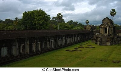 Expansive Courtyard of Angkor Wat Temple Complex in Cambodia...