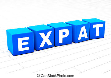 3D rendered illustration of the word Expat.