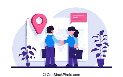 Expat work concept. Human resources agency for migrants. Effective migrant workers, expatriate programme, outside country employment. Modern flat illustration