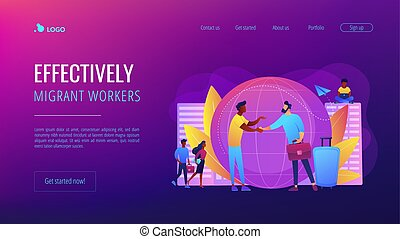 Human resources agency for migrants. Help hub. Expat work, effective migrant workers, expatriate programme, outside country employment concept. Website homepage landing web page template.