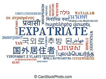 expatriate, multilanguage, wordcloud, fondo, concetto