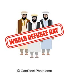 expatriates, 切手, 避難者, garments., day., 世界, シリア人, 人々。