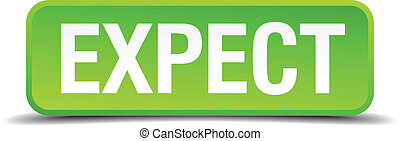 Expect green 3d realistic square isolated button