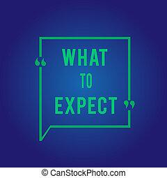 expect., quel, concept, mot, croyance, business, texte, sur, écriture, volonté, avenir, confusion, happen