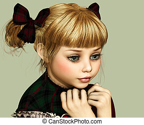 Expectant 3d CG - 3D computer graphics of a cute girl with...