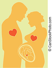 Expectation of new life - Vector illustration. Silhouettes....