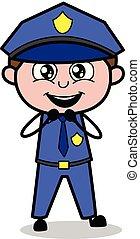 Expectation - Retro Cop Policeman Vector Illustration