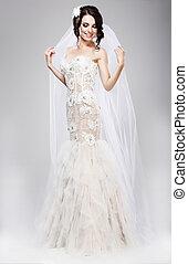 expectation., schöne , frohlockend, braut, in, weiße hochzeit, kleiden