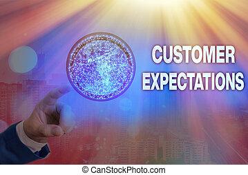 expectations., écriture, avantages, meublé, surpass, ceci, client, client, image, besoins, nasa., wants, espérer, projection, business, photo, note, éléments, showcasing
