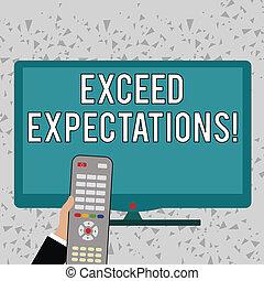 expectations., control, exceed, concepto, color, texto, computadora, infront, surpass, blanco, más allá de, capaz, escritura, pc, tenencia, empresa / negocio, acceptable, screen., mano, palabra, de par en par, remoto, perforanalysisce, o
