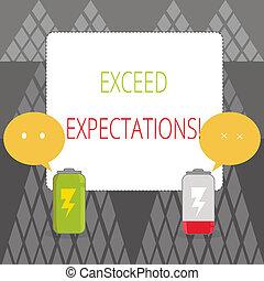 expectations., exceed, bubble., batería, texto, señal, surpass, más allá de, descargado, emoji, capaz, dos, discurso, foto, conceptual, actuación, colorido, acceptable, completamente, perforanalysisce, o, cargado