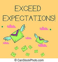 expectations., exceed, concepto, texto, surpass, más allá de, correo aéreo, wings., empresa / negocio, vuelo, capaz, dos, escritura, sobres, ellos, colorido, acceptable, carta, palabra, muchos, perforanalysisce, o