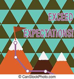 expectations., exceed, excursionismo, foto, surpass, más allá de, flag., cima, capaz, tres, escritura, nota, blanco, acceptable, montañas, empresa / negocio, nevoso, actuación, rastro, showcasing, perforanalysisce, o