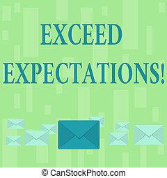 expectations., pastel, exceed, concepto, cerrado, tamaños, color, texto, acceptable, capaz, middle., diferente, uno, significado, surpass, grande, escritura, más allá de, perforanalysisce, o, sobres
