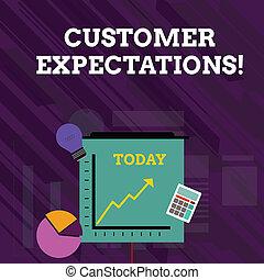 expectations., photo, tarte, espérer, surpass, investissement, haut., besoins, icônes, écriture, aller, texte, conceptuel, wants, business, projection, diagramme, main, ligne, client, avantages, client, flèche
