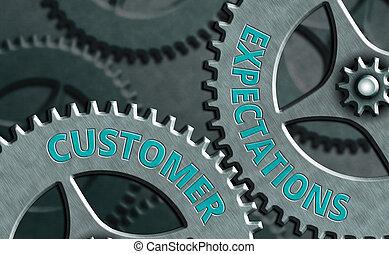 expectations., schrijvende , showcasing, zakelijk, conceptueel, hand, voordelen, wants., het tonen, foto, behoeftes, klant, verwachten, surpass, klant