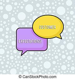 expectations., wants, besoins, avantages, business, client, photo, projection, forme., chevaucher, écriture, conceptuel, rectangulaire, paire, espérer, surpass, texte, ovale, bulles, main, client