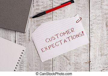expectations., wants, besoins, concept, feuille, placé, bois, texte, sommet, déchiré, signification, cahier, client, client, stylo, papier, espérer, surpass, avantages, écriture, table.