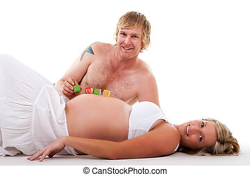 Expecting Couple Relaxing - Isolated
