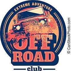 expedição, car, fora-estrada, logotipo, safari, offroader., suv