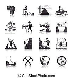 expedição, jogo, pretas, ícones