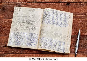 expedição, kayak, diário