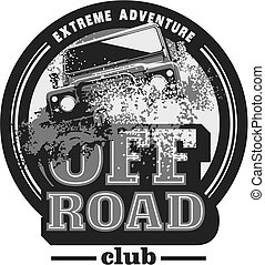 expedición, coche, off-road, logotipo, safari, offroader., suv