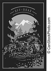 expedición, coche, off-road, terreno, barro, suv, offroader., logotipo