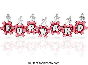 expedir, equipe, pessoas, marchar, andar, progresso, movimento