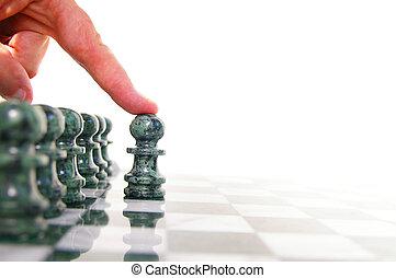 expedir, pedaço, em movimento, junta xadrez