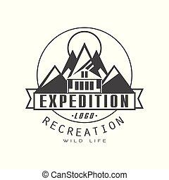 expeditie, logo, ontwerp, ontspanning, badge, ouderwetse , zwart wit, berg, exploratie, buitene avontuur, symbool, vector, illustratie, op, een, witte achtergrond