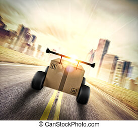 expeditie, zoals, vasten, auto., karton, het snelen, prioriteit, road., wielen