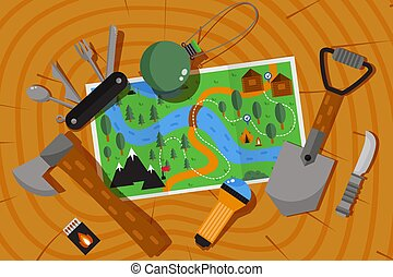 Expedition adventure map, hiking and camping outdoor in nature, vector illustration