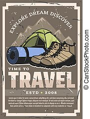 Expedition and travel. Tent, boots, sporting mat - Time to ...
