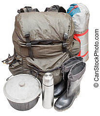 expedition equipment isolated on white background - set of...