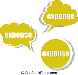 expence., komplet, handlowy, etykiety, tags., chorągwie,...