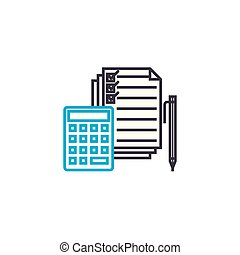 Expenditure clauses vector thin line stroke icon....