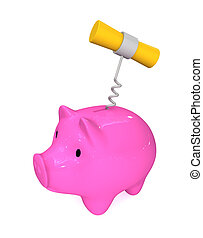 Expenditure of reserves - Three-dimensional image - a piggy ...