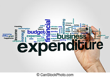 Expenditure word cloud concept on grey background