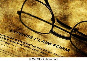 Expense claim form grunge concept
