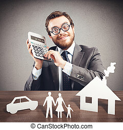 Expense family - Man with calculator and family cardboard...
