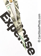 Expenses Cut - text of Expense and scissors, concept of...
