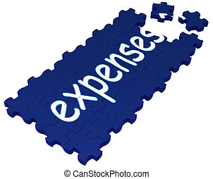 Expenses Puzzle Showing Invoices, Bills And Payment