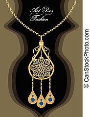 Expensive art deco filigree pendant with blue sapphires on golden chain, antique gold jewel, fashion in victorian style, elegant symmetric jewelry